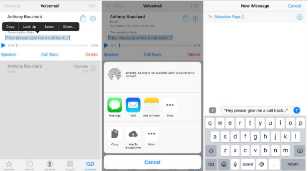 Transcribed voicemail in hidden features of iPhone 7