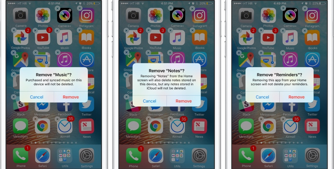 Removable apps constitute the Apple iOS 10 Features