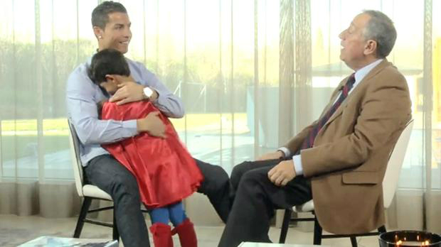 ADORABLE! Ronaldo's son dressed as Superman interrupts interview!